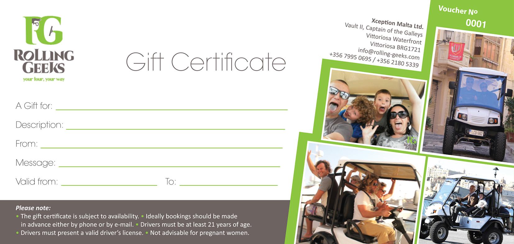 Rolling Geeks, Malta - Gift Certificates